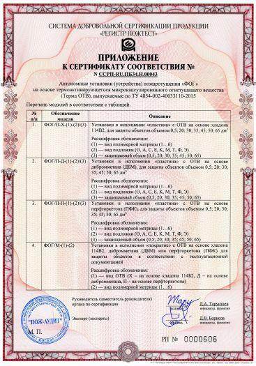 Скачать приложение к сертификату пожарной безопасности на автономные установки (устройства) пожаротушения «ФОГ»