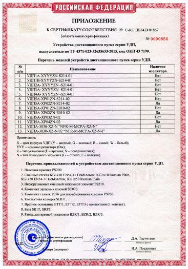 Скачать приложение к сертификату пожарной безопасности на устройства дистанционного пуска серии УДП