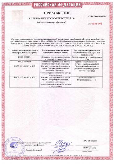 Скачать приложение к сертификату пожарной безопасности на обои виниловые на флизелиновой основе, толщиной от 0,1 мм до 4,0 мм, торговых марок «EURO DECOR», «MONTE SOLARO»
