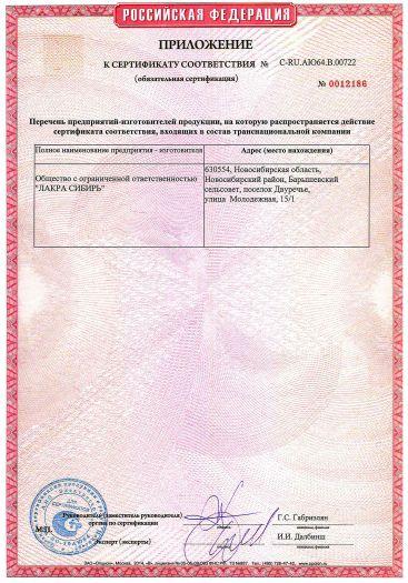 Скачать приложение к сертификату пожарной безопасности на эмали водно-дисперсионные ЛАКРА
