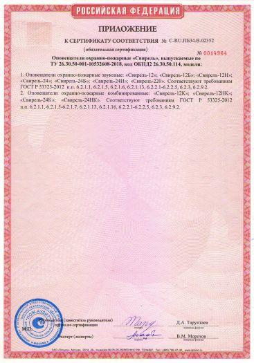 Скачать приложение к сертификату пожарной безопасности на оповещатели охранно-пожарные «Свирель»