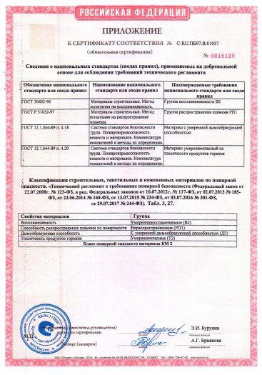 Скачать приложение к сертификату пожарной безопасности на покрытие поливинилхлоридное модульное — плитки и планки «Art Vinyl» тип «LOUNGE» («ЛАУНЖ»)