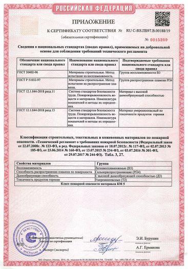 Скачать приложение к сертификату пожарной безопасности на напольные тафтинговые покрытия из полипропилена тип «Искусственная трава» разрезной ворс на латексной основе