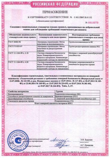 Скачать приложение к сертификату пожарной безопасности на покрытие напольное поливинилхлоридное гетерогенное «PRO» тип «ACCZENT PRO», «TRAVERTINE PRO», «SPRINT PRO», «CONTRACT SB», «HYPERION SB»