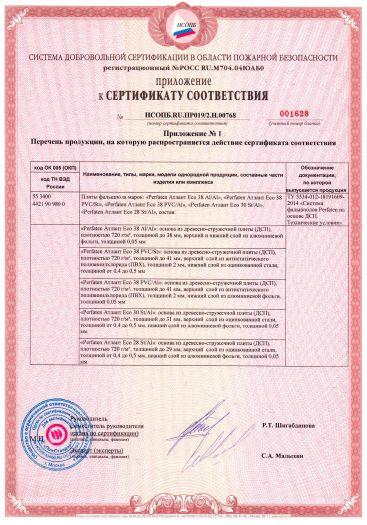 Скачать приложение к сертификату пожарной безопасности на плиты фальшпола марок «Perfaten Атлант Eco»