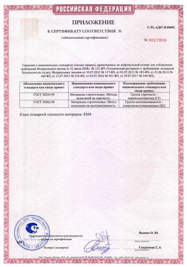 Скачать приложение к сертификату пожарной безопасности на мембрана из трехслойного полипропилена гидро-ветрозащитная паропроницаемая BIGBAND М типов: MD 90, MD 115, MD 135, MD 150, MD 165