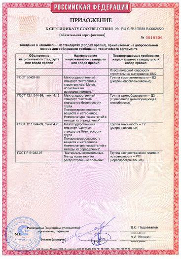 Скачать приложение к сертификату пожарной безопасности на покрытие на основе эмали ПФ-266 ЛАКРА для пола