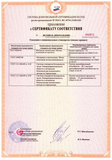 Скачать приложение к сертификату пожарной безопасности на листы профилированные поликарбонатные марок: «SUNTUF», «SUNTUF Plus» толщиной от 0,8 до 1,5 мм