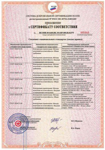 Скачать приложение к сертификату пожарной безопасности на герметик огнестойкий эластичный однокомпонентный силиконовый для внутреннего и наружного использования марки «FIRESILICONE B1 FR»