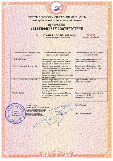 Скачать приложение к сертификату пожарной безопасности на покрытие для бетонных полов на основе эмали алкидно-уретановой торговой марки «Фарбитекс ПРОФИ»