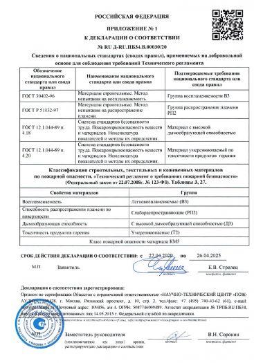 Скачать приложение к сертификату пожарной безопасности на покрытие напольное поливинилхлоридное на основе — линолеум ПВХ «GLADIATOR» (ГЛАДИАТОР)