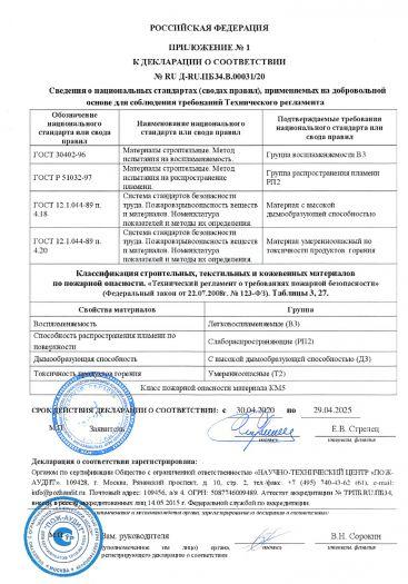Скачать приложение к сертификату пожарной безопасности на покрытие напольное поливинилхлоридное на основе — линолеум ПВХ «FORCE R» («ФОРС Р»)