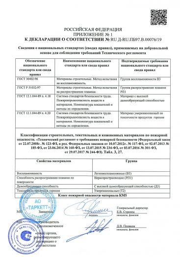 Скачать приложение к сертификату пожарной безопасности на покрытие напольное поливинилхлоридное модульное «JAZZ CLIK» («Джаз Клик»)
