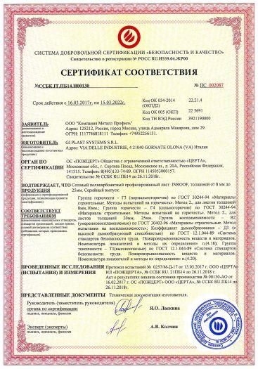 Скачать сертификат пожарной безопасности на сотовый поликарбонатный профилированный лист INROOF