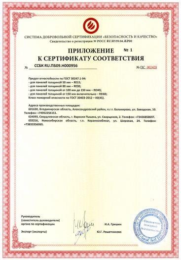 Скачать приложение к сертификату пожарной безопасности на конструкции из панелей металлических трехслойных кровельных МП ТСП-К с утеплителем из минеральной ваты
