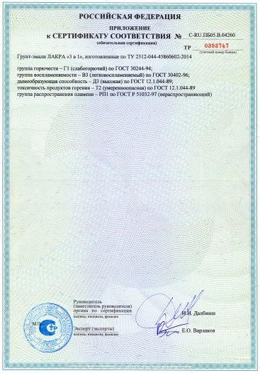 Скачать приложение к сертификату пожарной безопасности на грунт-эмали ЛАКРА «3 в 1»