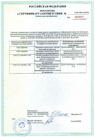 Скачать приложение к сертификату пожарной безопасности на покрытия из красок водно-дисперсионных, т.м.: «Олеколор», «Тициана», «ФАРБИТЕКС», «ФАРБИТЕКС ПРОФИ»