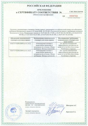 Скачать приложение к сертификату пожарной безопасности на состав огнебиозащитный для древесины и изделий из нее «Огнещит Экстра»